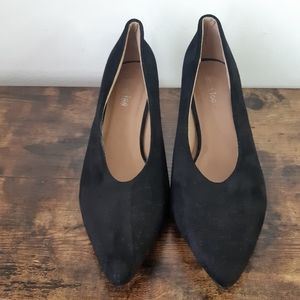 Vintage Black Sacha Too Suede Block Heel Shoes